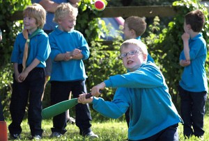 Beavers playing rounders